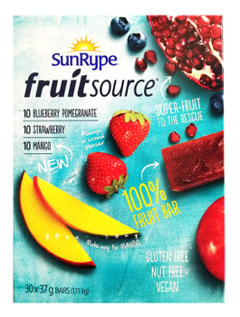 Sunrype Fruit Source - 100% Fruit Bar, 30ct x 37g bars, 3 Flavours, (Imported from Canada)