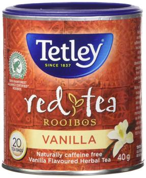 Tetley Tea Rooibos Vanilla (Red-Tea), 20 Tea Bags, 40g/1.41oz, (Imported from Canada)
