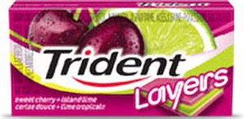 Trident Layers Sugar Free Gum (14-Pieces/Pack, 12ct/Box) (Sweet Cherry + Island Lime) (Imported from Canada)