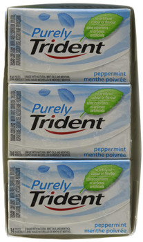 Trident Purely Trident Peppermint Chewing Gum, 12ct/14-Pieces/Pack, (Imported from Canada)