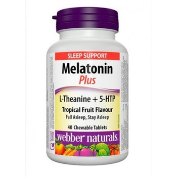Webber Naturals Super Sleep Melatonin Plus L-Theanine & 5-HTP, 40 Tablets {Imported from Canada}