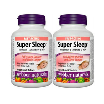 Webber Naturals Super Sleep Melatonin Plus L-Theanine & 5-HTP, 90 tablets (2) {Imported from Canada}