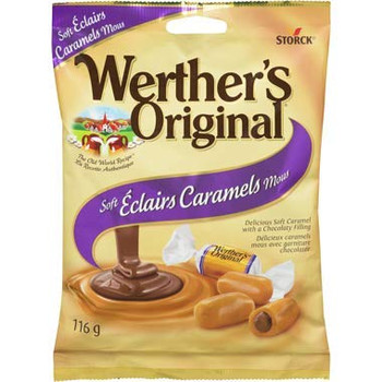 Werther's Original Soft Eclairs Caramel Candies, 116g/4.1oz, (Imported from Canada)