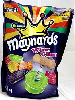 Maynards Gummy, Wine Gums, 1kg/2.2 lbs - 2 Pack {Imported from Canada}