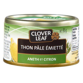Clover Leaf Flaked Light Tuna, 85g/3 oz., Dill and Lemon {Imported from Canada}