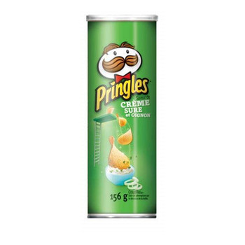Pringles Sour Cream & Onion Potato Chips, 156g/5.5oz, 2 Pack (Imported from Canada)