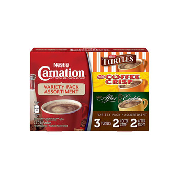 Nestle Carnation Variety Assorted Pack - 6 Turtles Sachets, 4 Coffee Crisp Sachets, 4 After Eight Hot Chocolate Sachets - Total 14 Hot Chocolate Sachets