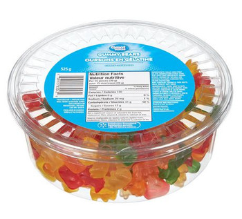 Great Value Tub of Gummy Bears, 525g/1.2lbs, {Imported from Canada}