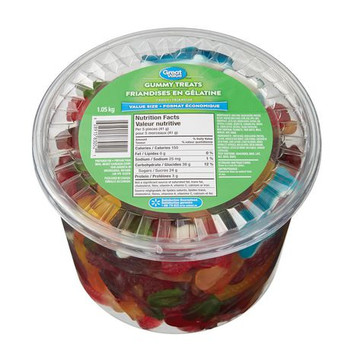 Great Value, 1.05kg/2.3lbs, Tub of Gummy Treats, (Imported from Canada)