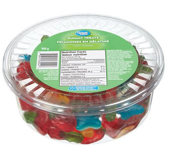 Great Value, Tub of Gummy Treats, 500g/1.1lbs, (Imported from Canada)