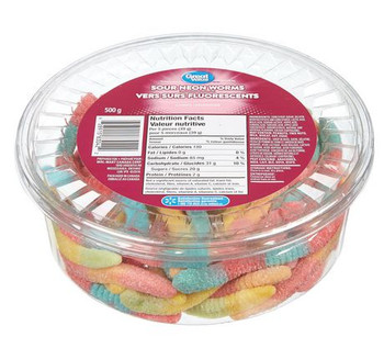 Great Value, Tub of Sour Neon Gummy Worms, 500g/1.1lbs, {Imported from Canada}