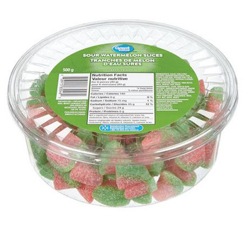 Great Value, 500g/1.1lbs., Tub of Sour Watermelon Slices, {Imported from Canada}