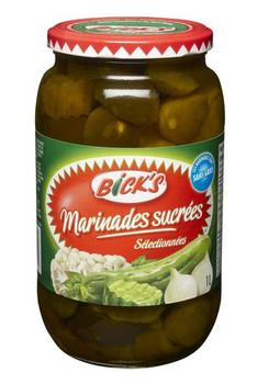 Bicks Sweet Mix Pickles, 1L/33.81 fl. oz. Jar, {Imported from Canada}