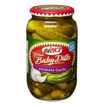 Bicks Premium Ultimate Garlic Baby Dills Pickles, 1L/33.81 fl.oz.{Imported from Canada}
