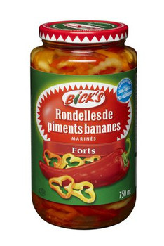 Bicks Jar of Hot Pepper Rings, 750ml/25.4oz., {Imported from Canada}