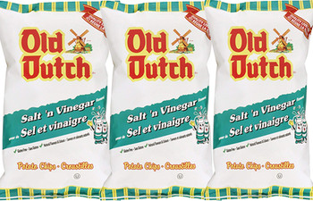 Old Dutch Salt & Vinegar Flavoured Potato Chips 255g - 3 X Large Bags {Imported from Canada} (3-Pack)
