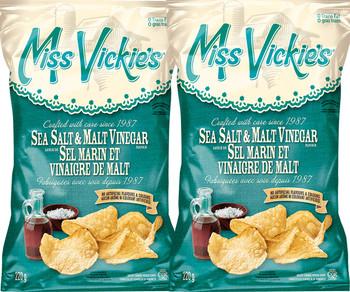 Miss Vickie's Sea Salt & Malt Vinegar, 220g/7.8oz., (2-Pack){Imported from Canada}