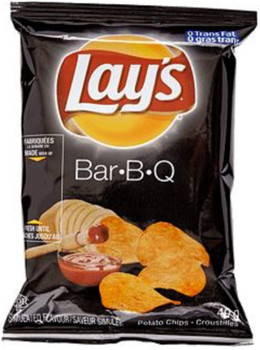 Box of LAY'S Potato Chips, BAR-B-Q, Vending Chips (40ct x 40g/1.4oz) (Imported from Canada)