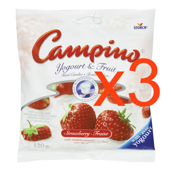 Campino Yogurt & Fruit Candies, 3 bags, Strawberry, (120g / 4.2oz){Imported from Canada}