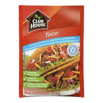 Club House 25% Less Salt, Gluten-Free, Taco Seasoning Mix, 35g/1.2oz., {Imported from Canada}