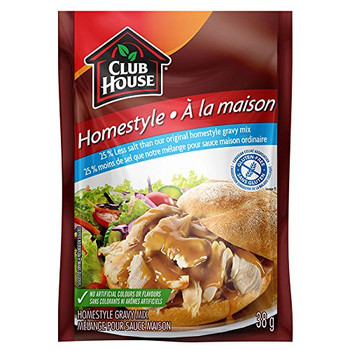 Club House, 25% less Salt, Homestyle Gravy Mix, 38g/1.3oz., {Imported from Canada}