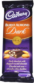 Cadbury Burnt Almond Dark Chocolate Candy Bar, 100 Grams/3.5 Ounces - 12 Pack