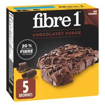 Fibre 1 Chocolatey Fudge Brownies, 5-Count, 125g/4.4oz., {Imported from Canada}