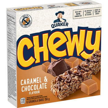 Quaker Chewy Caramel & Chocolate, 6 Bar Pack (Pack of 12) {Imported from Canada}