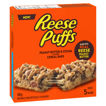 Reese Puffs Treats Peanut Butter & Cocoa Cereal Bars, 120g/ 4.2oz., Box, {Imported from Canada}