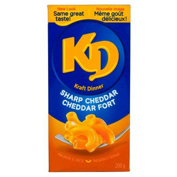 Kraft Dinner, Sharp Cheddar, Macaroni & Cheese, 200g/7oz., {Imported from Canada}