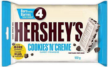 Hershey's Chocolate Bars, Cookies 'N' Creme, 4ct, 172g/6.1oz., {Imported from Canada}