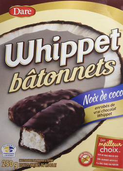 Dare, Whippet Sticks, Chocolate covered Coconut Sticks, 250g/8.8oz., 2ct, {Imported from Canada}