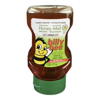 Billy Bee, Organic Pure Natural Honey, Liquid Amber, Upside-down Squeeze, 375g/13.2oz.