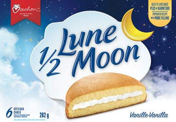 VACHON  Half Moon, Fluffy Vanilla Cakes, 282g/9.9oz., 6 cakes., {Imported from Canada}