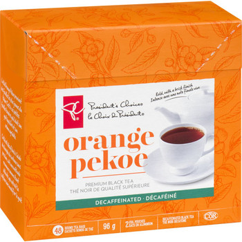 President's Choice, Orange Pekoe Decaffeinated Black Tea, 96g/3.4oz., 48ct, {Imported from Canada}