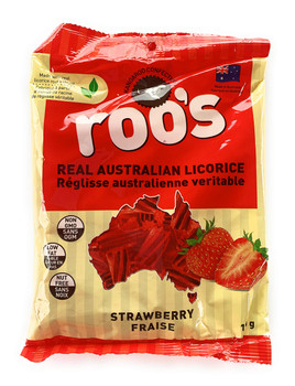 Roo's Real Australian Strawberry Licorice, 120g/4.2oz., Bag, {Imported from Canada}