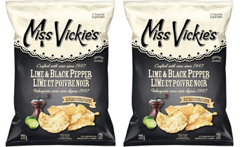Miss Vickies Kettle Cooked Lime & Black Pepper, Potato Chips (2-Pack) {Imported from Canada}