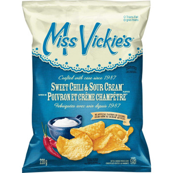 Miss Vickies Kettle Cooked Sweet Chili & Sour Cream Potato Chips, 220g/ 7.75oz {Imported from Canada}
