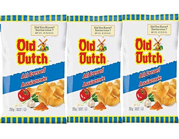 Old Dutch All Dressed Potato Chips (3-Pack) 255g/9oz, Bags, {Imported from Canada}
