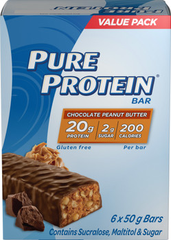 Pure Protein Bars, Gluten Free, Snack Bars, Chocolate Peanut Butter, 50 gram, 6 Count, {Imported from Canada}