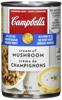 Campbell's 40% Less Sodium Cream Of Mushroom Soup, 284ml/9.6 oz.{Canadian}