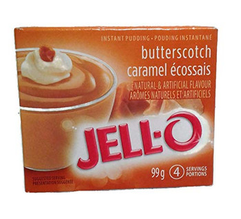 Jello Butterscotch Instant Pudding Mix - 99g/3.5oz., X 6 PKG.{Imported from Canada}