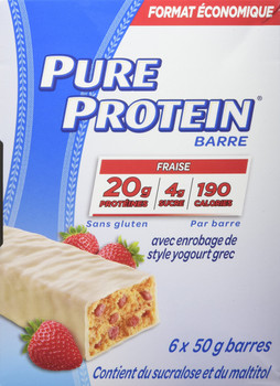 Pure Protein, Strawberry with Greek Yogurt Coating 6ct x 50g/1.8oz., {Imported from Canada}