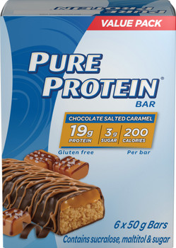 Pure Protein,Gluten Free, Snack Bars, Chocolate Salted Caramel, 50g/1.8oz., 6ct, {Imported from Canada}