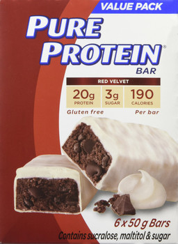 Pure Protein Bars, Gluten Free, Snack Bars, Red Velvet, 50g/1.8oz.,6ct, {Imported from Canada}