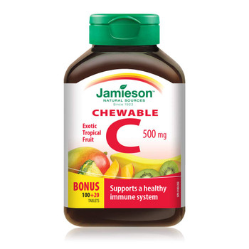Jamieson Chewable Vitamin C 500 mg Exotic Tropical Fruit, 120ct, {Imported from Canada}