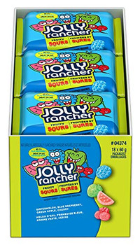 Jolly Rancher Fruity Sours Candy, 60g/2.1oz, per (18 Pack) {Imported from Canada}