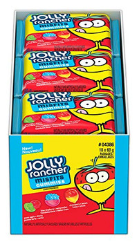 Jolly Rancher Misfits Gummies Candy, 60g/2.1oz. Per Pack, (18 Pack) {Imported from Canada}