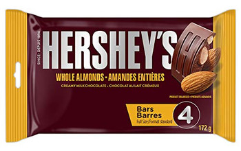 HERSHEY'S Chocolate Candy Bars with Almonds, 4ct (172g/6.1oz) {Imported from Canada}