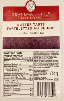 Grandmother's Bake Shoppe Raisin Butter Tarts, 765g/27oz., {Imported from Canada}